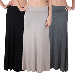 FTL Women's Foldover High Waisted Maxi Skirts (Pack of 3)