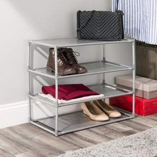 Home Basics Free-Standing Non Woven 4-Tier Shoe Rack