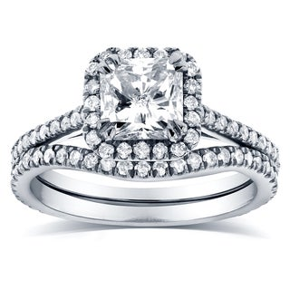 Annello 14k White Gold 1 1/2ct TDW Radiant-cut Halo Diamond Bridal Rings Set (G-H, I1-I2)