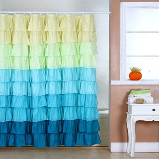 Windsor Home Sky Blues Ruffle Shower Curtain with Buttonholes
