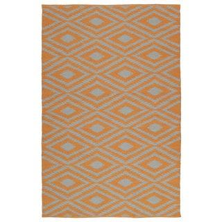 Indoor/Outdoor Laguna Orange and Grey Ikat Flat-Weave Rug (9'0 x 12'0)