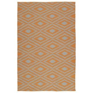 Indoor/Outdoor Laguna Orange and Grey Ikat Flat-Weave Rug (8'0 x 10'0)