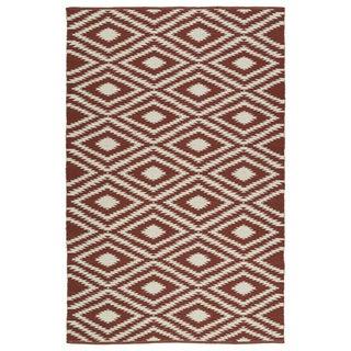 Indoor/Outdoor Laguna Brick and Ivory Ikat Flat-Weave Rug (9'0 x 12'0)