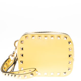 Valentino Rockstud Yellow Double Compartment Wristlet