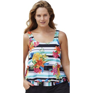 Beach Belle Women's Beach Cruiser Blouson Tankini Top