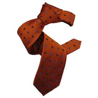 Dmitry Men's Orange Patterned Italian Silk Tie