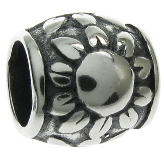 Queenberry Sterling Silver Sunflower European Bead Charm