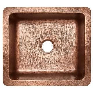 Sinkology Monet Farmhouse Apron Front Copper Sink 25 inch Single Bowl Kitchen Sink in Antique Copper