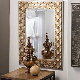 Baxton Studio Benner Contemporary Golden Finish Rectangle Accent Wall Mirror