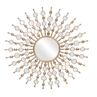 Clancy Contemporary Golden Finish Round Accent Wall Mirror