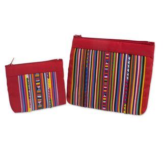 Set of 2 Cotton Blend 'Lisu Fire' Cosmetic Bags (Thailand)