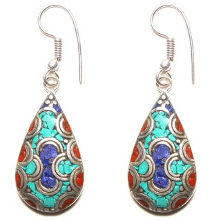 Antique Sterling Silver Multi-colored Raindrop Earrings (Nepal)