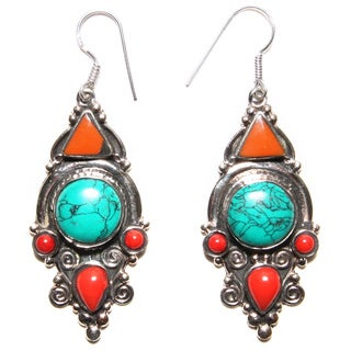 Handmade Turquoise and Coral Drop Earrings (Nepal)