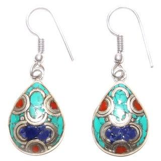 Silvertone Teardrop Earrings with Multi-colored Stones (Nepal)
