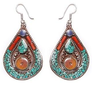 Multicolored Teardrop Earrings (Nepal)