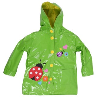 Wippette Toddler Girls' Waterproof Hooded Ladybug Trench Raincoat