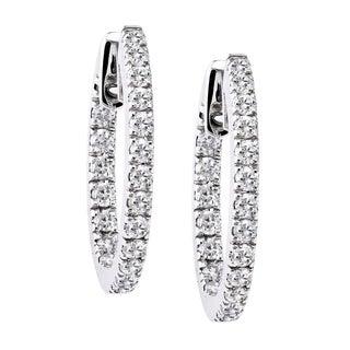 Beverly Hills Charm 10k Gold 1ct TDW Round Diamond Inside-out Hoop Earrings (H-I, I2-I3)