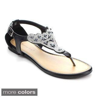 Sunny Day Women's Zalia-3 Studded Rhinestone Cut-out Sandals