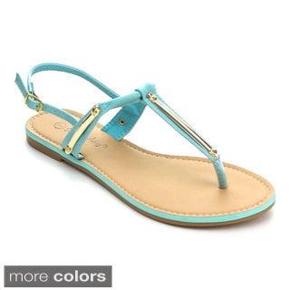 Sunny Day Women's Steno-29 T-strap Slingback Flat Sandals