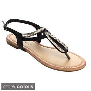 Sunny Day Women's Glint-5 T-strap Beaded Slingback Sandals