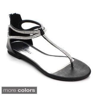 Rck Bella Women's Ario-17 Rhinestone T-strap Back Zipper Flat Sandals