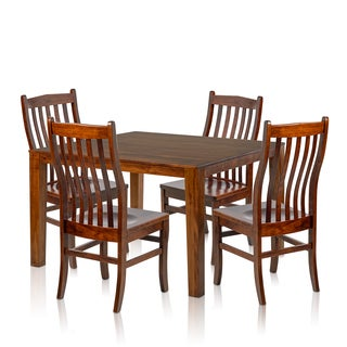 Somette 5-piece Solid Maple Wood Dining Set with Cherry Finished Square Table and Side Chairs