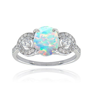 Glitzy Rocks Sterling Silver Synthetic Opal and Cubic Zirconia Ring