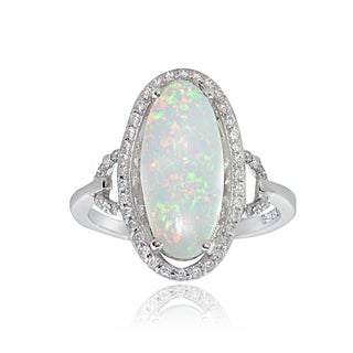 Glitzy Rocks Sterling Silver Synthetic Opal and Cubic Zirconia Oval Ring