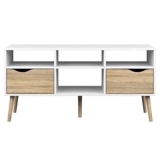 Diana White 4-shelf 2-drawer Oak TV Stand