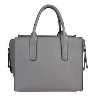 Mllecoco Genuine Real Leather Solid Color Pleaded Stitch Design Roomy Interior Zipper Closure Structured Handbag