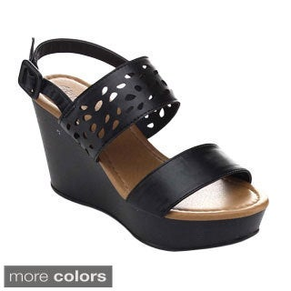 Radiant Women's Oval-08 Double Strap Slingback Wedges