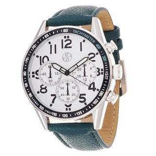 Fortune NYC Men's Silvertone Case Green Leather Strap Watch