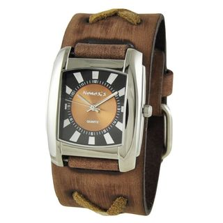 Nemesis Two Tone Orange and Black Womens 'Sunshine' Watch with Brown Faded X Leather Cuff Band