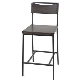 Fashion Bed Group Columbus Black Metal Barstool with Black Cherry Wooden Seat