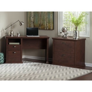Bush Furniture Yorktown Collection Single Pedestal Desk and Lateral File