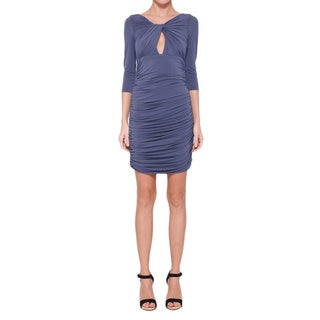 Halston Heritage Women's Grey Shirred Keyhole Cocktail Dress
