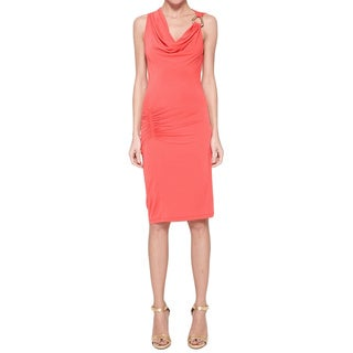 Halston Heritage Women's Coral Cowl-neck Cocktail Dress