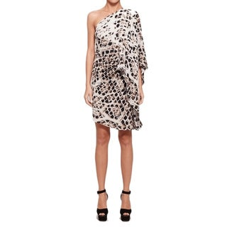 Halston Heritage Women's Snakeskin Print One-shoulder Cocktail Dress