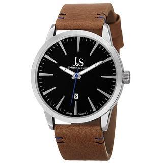 Joshua & Sons Men's Swiss Quartz Glossy Dial Contrast Stitching Leather Strap Watch