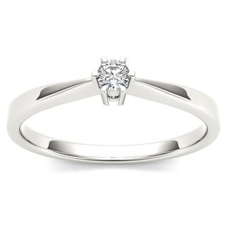 De Couer 10k White Gold 1/10ct TDW Diamond Classic Engagement Ring (H-I, I2)