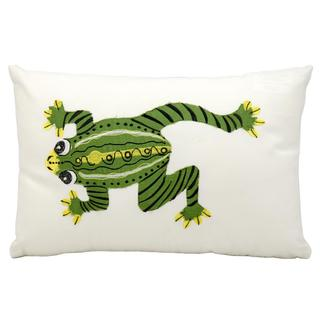 """Mina Victory by Nourison Indoor/Outdoor White Frog 12"""" x 18"""" Throw Pillow"""