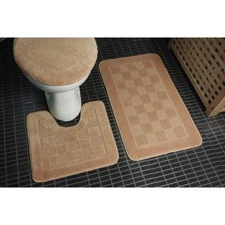 Danity Home - 3 Piece Bath Set (Bath Mat, Contour Mat, Lid Cover)