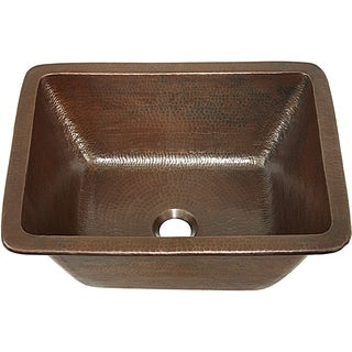 Sinkology Hawking 17 inch Dual Mount Copper Sink Handmade Pure Solid Copper in Aged Copper
