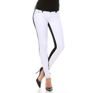Stanzino Women's White Front Colorblock Slim Fit Pants