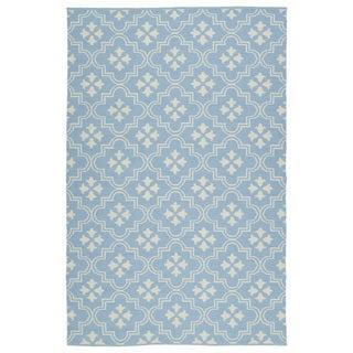 Indoor/Outdoor Laguna Light Blue and Ivory Tiles Flat-Weave Rug (9'0 x 12'0)