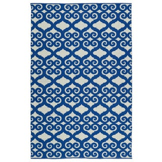 Indoor/Outdoor Laguna Ivory and Navy Scroll Flat-Weave Rug (9'0 x 12'0)