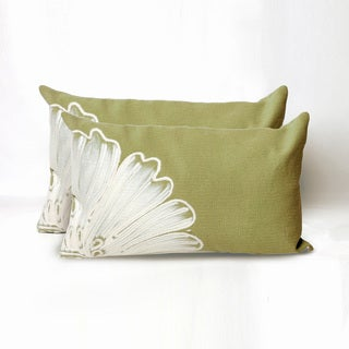 Embossed Flower Indoor/Outdoor 12 x 20 inch Throw Pillow (set of 2)