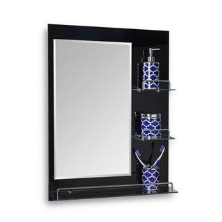 "Danya B. Oslo- 24 x 31.5"" All Glass Mirror with Shelves - Black"