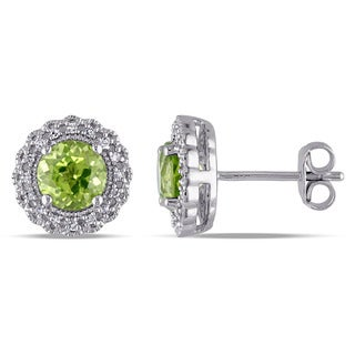 Miadora Sterling Silver Peridot and 1/10ct TDW Diamond Halo Earrings (G-H, I2-I3)