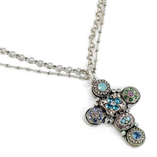 Sweet Romance Pewter 'Etheria Cross' Necklace